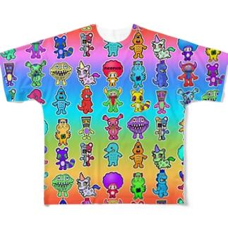 ピコピコオールスター レインボー Full graphic T-shirts