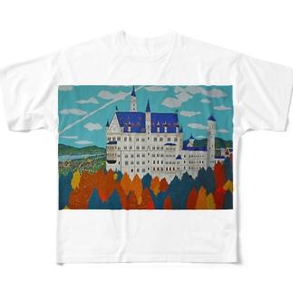 紅葉のノイシュバンシュタイン城 Full graphic T-shirts