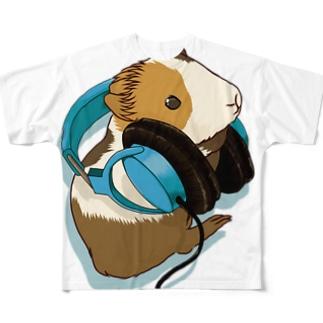 モルモットヘッドフォン ブルー All-Over Print T-Shirt