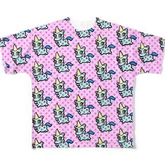 甘獣ユニん子 ブルー Full graphic T-shirts