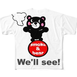 玉のりモクモックマ 黒 Full graphic T-shirts
