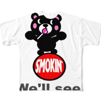 玉のりモクモックマ  飴ちゃんフェイス 黒 Full graphic T-shirts