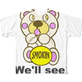 飴ちゃんモクモックマ 白 Full graphic T-shirts
