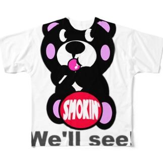 飴ちゃんモクモックマ 黒 Full graphic T-shirts