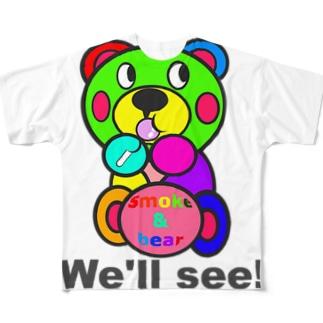 飴ちゃんモクモックマ カラフル Full graphic T-shirts
