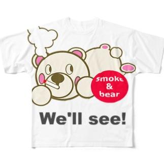 うつぶせモクモックマA 白 Full graphic T-shirts