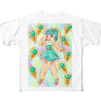 チョコミント 女の子 Full graphic T-shirts