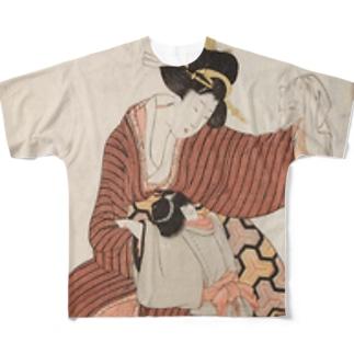 風流五図の花(狐面) Full graphic T-shirts