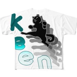 ねこキック 青 Full graphic T-shirts