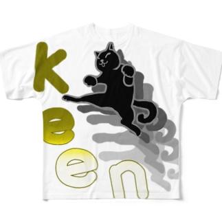 ねこキック Full graphic T-shirts