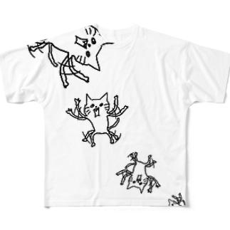 ネコです。SPINFLY Version Full graphic T-shirts