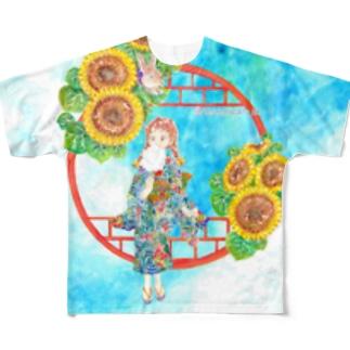 「窓際の夏」青空・向日葵縁・浴衣の女の子・背景有 Full graphic T-shirts