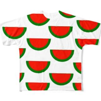 種なしスイカいっぱい Full graphic T-shirts