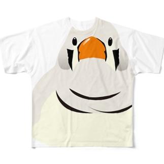 見つめる、キンカチョウ Full graphic T-shirts