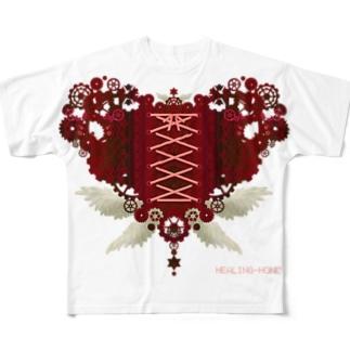 歯車(heart・R/レッド) Full graphic T-shirts