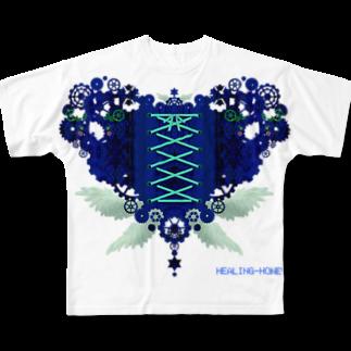 healing-honeyの歯車(heart・B/ブルー) Full graphic T-shirts
