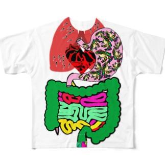 人体皆カエル Full graphic T-shirts