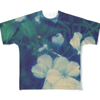 blue flower Full graphic T-shirts