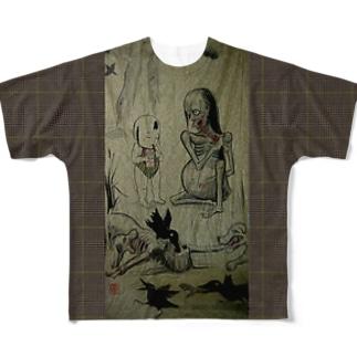 ガキポッキー 餓鬼の横でお菓子 フルグラフィックTシャツ