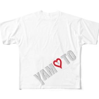 YAMOTOロゴ Full graphic T-shirts