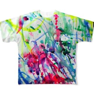 カラフル水彩 Full graphic T-shirts