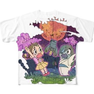 コンニャクロボットとお化け屋敷 Full graphic T-shirts
