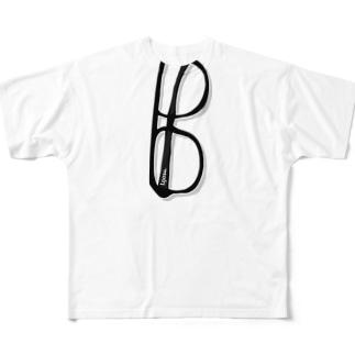 I.gasu ダテメガネ 【アイガス】 Full graphic T-shirts