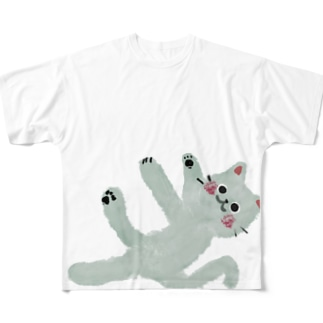 甘えんぼネコ【ゆめかわアニマル】 Full graphic T-shirts