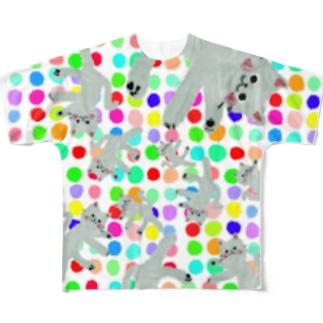 甘えんぼネコ:RAINBOW【ゆめかわアニマル】 Full graphic T-shirts