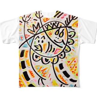 ひよこ君と雛祭り中のゆで卵chanの、わっしょい祭り Full graphic T-shirts