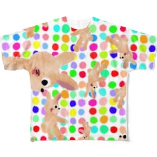 甘えんぼウサギ:RAINBOW【ゆめかわアニマル】 Full graphic T-shirts