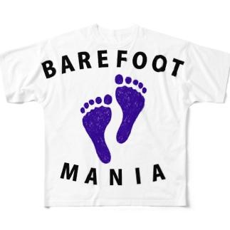 マラソンランナー専用デザイン「ベアフットマニア」 Full graphic T-shirts