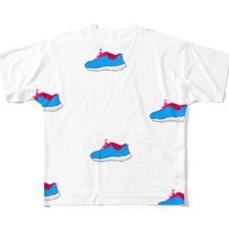 dorima-の青いスニーカー(くつ) Full graphic T-shirts