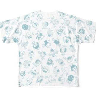 NICONICO_blue Full graphic T-shirts