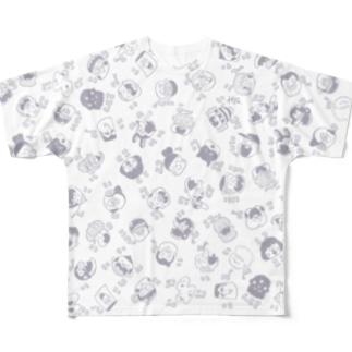 NICONICO_gray フルグラフィックTシャツ