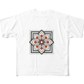 モロッカンに憧れるタイル柄・ブラック×オレンジ Full graphic T-shirts