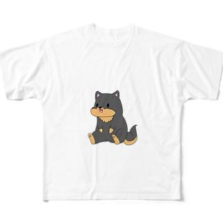 ちょこんとおすわり黒柴 Full graphic T-shirts