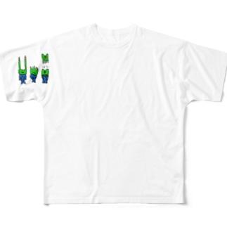 3匹のかえる Full graphic T-shirts