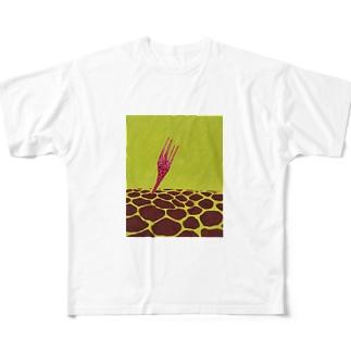 キリンがつきささる Full graphic T-shirts