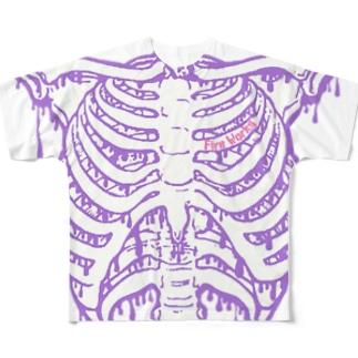 肋骨マニアックス 薄紫×白 Full graphic T-shirts