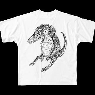ササカワとモヤのすわるわに Full graphic T-shirts