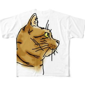 猫よこ顔 Full graphic T-shirts