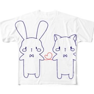 うさぎさんとねこさん Full graphic T-shirts