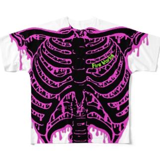 肋骨マニアックス ショッキングピンク×黒 Full graphic T-shirts