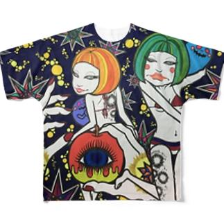 お星様と女子。 Full graphic T-shirts