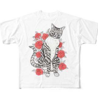 猫とバラ Full graphic T-shirts