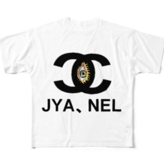 JYANEL(じゃ、寝る)ロゴプリントTシャツ Full graphic T-shirts