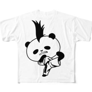 【かっこいいのに可愛いパンダ】モヒカンパンダの空手上段蹴り Full graphic T-shirts