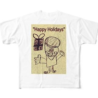 おばけ君のプレゼント Full graphic T-shirts