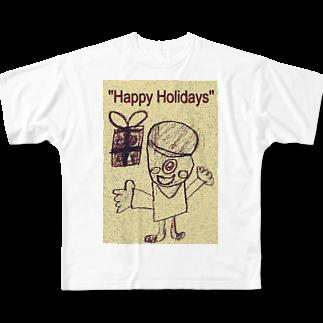 kityiのおばけ君のプレゼント Full graphic T-shirts